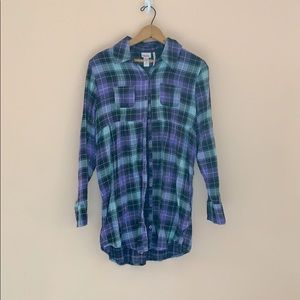 Plaid Purple & Blue Top Girl's Justice Size 20